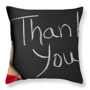 Thank You Sign On Chalkboard Throw Pillow