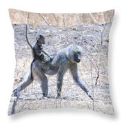 Thanks For The Ride Olive Baboon Throw Pillow