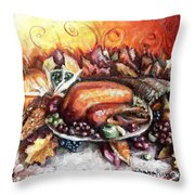 Thanksgiving Dinner Throw Pillow by Shana Rowe Jackson