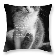 Thanksgiving Kitty Bw Throw Pillow