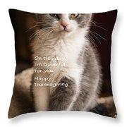 Thanksgiving Kitty Throw Pillow