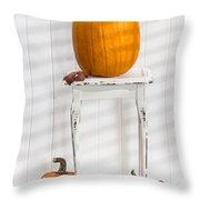 Thanksgiving Pumpkin Display Throw Pillow