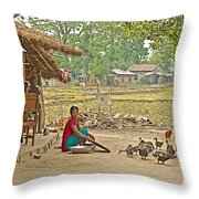 Tharu Farming Village Landscape-nepal Throw Pillow