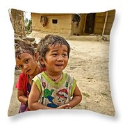 Tharu Village Children Love To Greet Us-nepal- Throw Pillow