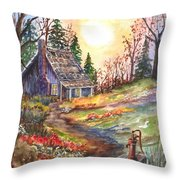 That Old Cabin In The Woods Throw Pillow