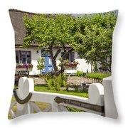 Thatched Roof Cottage Throw Pillow