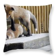 That's Not Helping - Two Fox Kits Throw Pillow