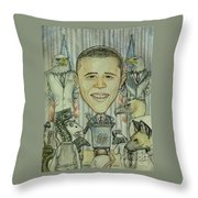 The 44th President And The Media Throw Pillow