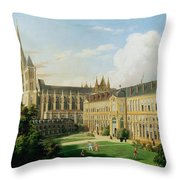 The Abbey Church Of Saint-denis And The School Of The Legion Of Honour In 1840 Oil On Canvas Throw Pillow