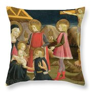 The Adoration Of The Kings And Christ On The Cross Throw Pillow