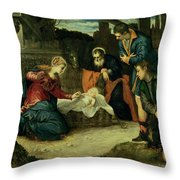 The Adoration Of The Shepherds, 1540s Throw Pillow