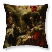 The Adoration Of The Shepherds Throw Pillow by Jan Cossiers