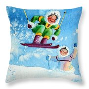 The Aerial Skier - 10 Throw Pillow by Hanne Lore Koehler