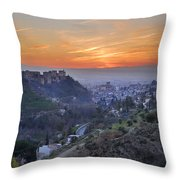 The Alhambra And Granada At Sunset Throw Pillow