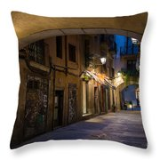 The Alley- In Beautiful Barcelona Throw Pillow