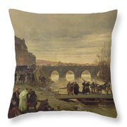 The Ambulance De La Presse At Joinville During The Siege Of Paris Oil On Canvas Throw Pillow