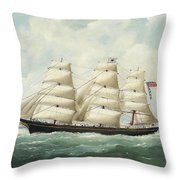 The American Ship Olive S Southard Of San Francisco In French Waters Off Le Havre Throw Pillow