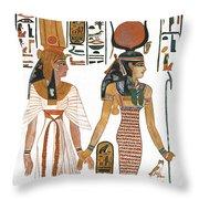 The Ancient Egyptian Goddess Isis Leading Queen Nefertari Throw Pillow