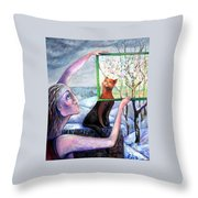 The Angel Of February Throw Pillow