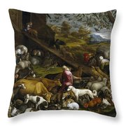 The Animals Entering Noah's Ark Throw Pillow