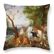The Animals Entering Noahs Ark Panel Throw Pillow