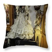 The Antique Doll Throw Pillow