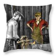 The Apprentice Blacksmith Armorer Throw Pillow