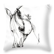 The Arabian Horse Sketch Throw Pillow