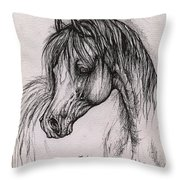 The Arabian Horse With Thick Mane Throw Pillow