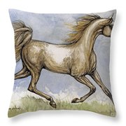 The Arabian Mare Running Throw Pillow