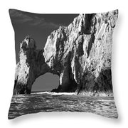 The Arch Cabo San Lucas In Black And White Throw Pillow