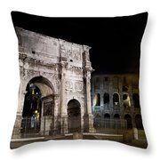 The Arch Of Constantine And The Colosseum At Night Throw Pillow