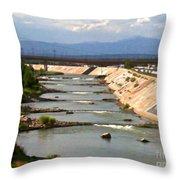 The Arkansas River And Pike's Peak Throw Pillow