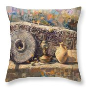 The Armenian Still-life With A Fragment Cross - Stone  Armenian Khachqar Throw Pillow