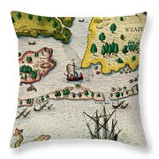 The Arrival Of The English In Virginia Throw Pillow