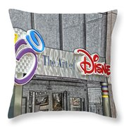 The Art Of Disney Signage Selective Coloring Digital Art Throw Pillow