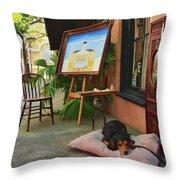 The Artist's Dog Throw Pillow