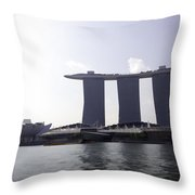 The Artscience Musuem And The Marina Bay Sands Resort In Singapore Throw Pillow