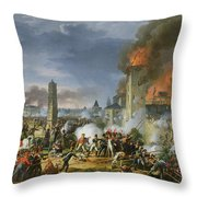 The Attack And Taking Of Ratisbon, 23rd April 1809, 1810 Oil On Canvas Throw Pillow