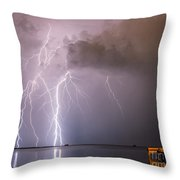 The Attack On Crystal Beach Throw Pillow