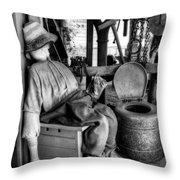 The Aussie Dunny Can - Black And White Throw Pillow