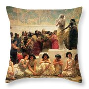 The Babylonian Marriage Market, 1875 Throw Pillow by Edwin Longsden Long