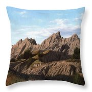 The Badlands In South Dakota Oil Painting Throw Pillow
