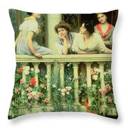 The Balcony Throw Pillow by Eugen von Blaas