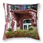 The Balcony Flowers Throw Pillow