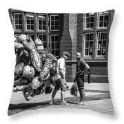 The Balloon Seller Mono Throw Pillow