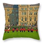 The Band Played On In Front Of Parliament Building In Ottawa-on Throw Pillow