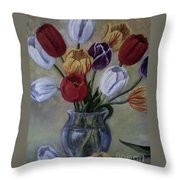 The Banker's Tulips Throw Pillow