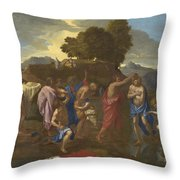 The Baptism Of Christ Throw Pillow by Nicolas Poussin