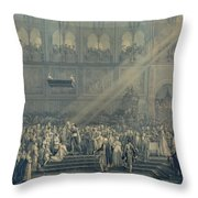 The Baptism Of The King Of Rome 1811-32 At Notre-dame, 10th June 1811, After 1811 Engraving Throw Pillow